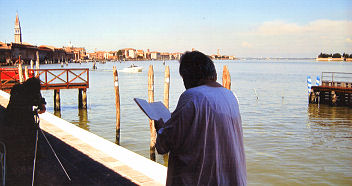 Patrick Helay Reading the Markies van Water, by Hilarius Hofstede at the Biennale Venice 2007